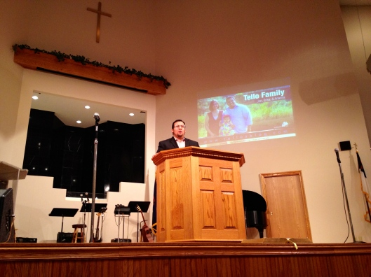 Jon presenting at a supporting church.